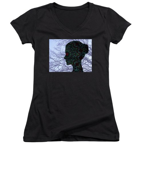 Profile Portrait Of Young Beautiful Woman. Women's V-Neck