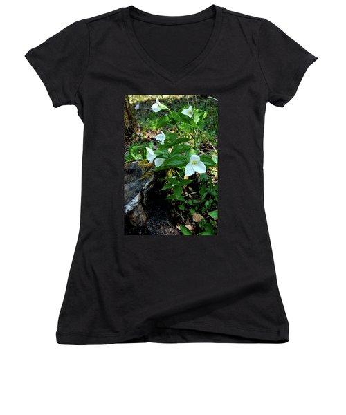 Women's V-Neck T-Shirt (Junior Cut) featuring the photograph Protected Wild Trillium  by LeeAnn McLaneGoetz McLaneGoetzStudioLLCcom