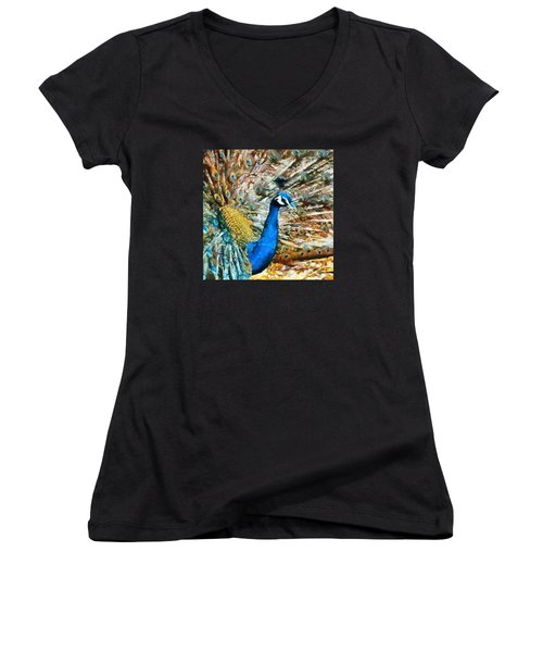Women's V-Neck T-Shirt (Junior Cut) featuring the digital art Proud As A Peacock by Charmaine Zoe