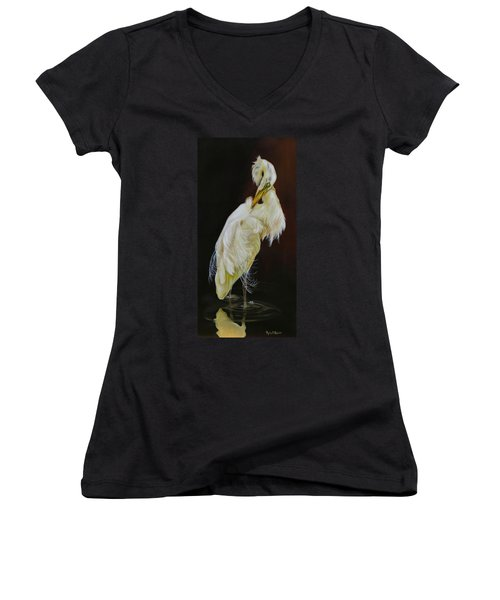 Women's V-Neck T-Shirt (Junior Cut) featuring the painting Prudence by Phyllis Beiser
