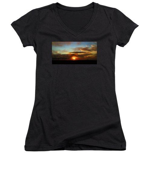 Prudhoe Bay Sunset Women's V-Neck T-Shirt (Junior Cut) by Anthony Jones