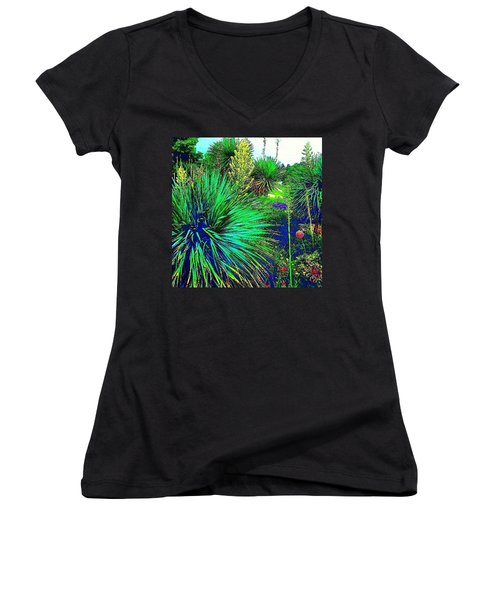 Psychedelic Yuccas. #plant #yucca Women's V-Neck T-Shirt (Junior Cut)