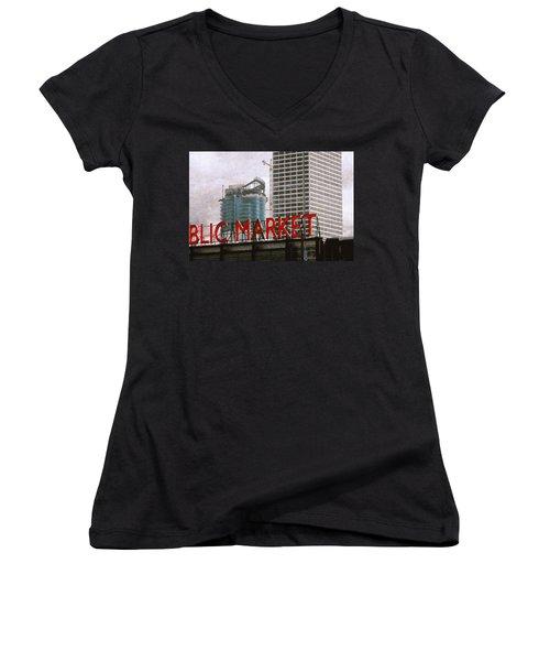 Public Market Women's V-Neck T-Shirt (Junior Cut) by David Blank