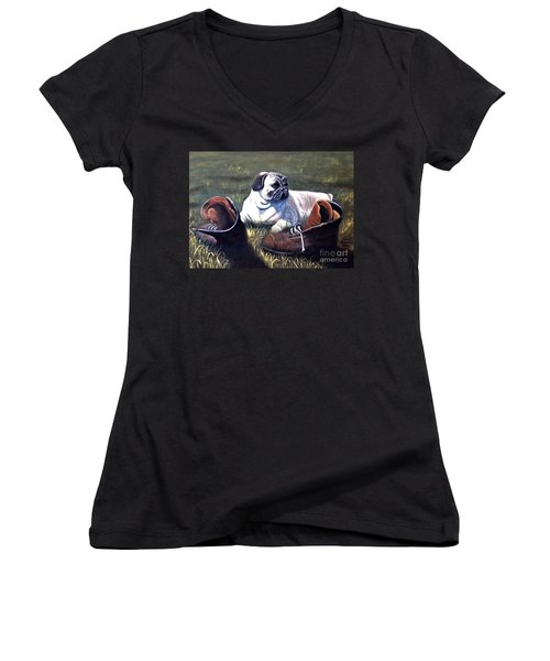 Pug And Boots Women's V-Neck (Athletic Fit)