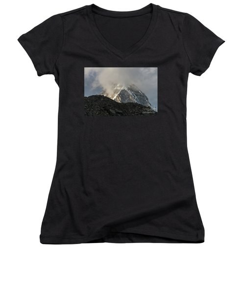 Women's V-Neck T-Shirt (Junior Cut) featuring the photograph Pumori Dusk Light by Mike Reid