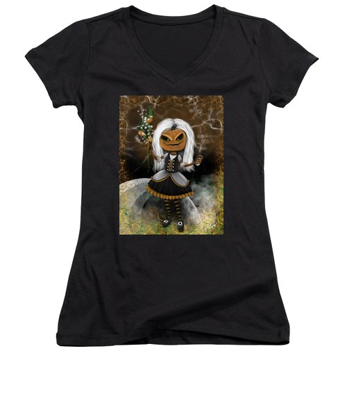Pumpkin Spice Latte Monster Fantasy Art Women's V-Neck