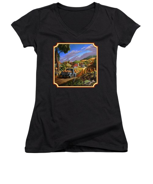 Pumpkins Farm Folk Art Fall Landscape - Square Format Women's V-Neck T-Shirt