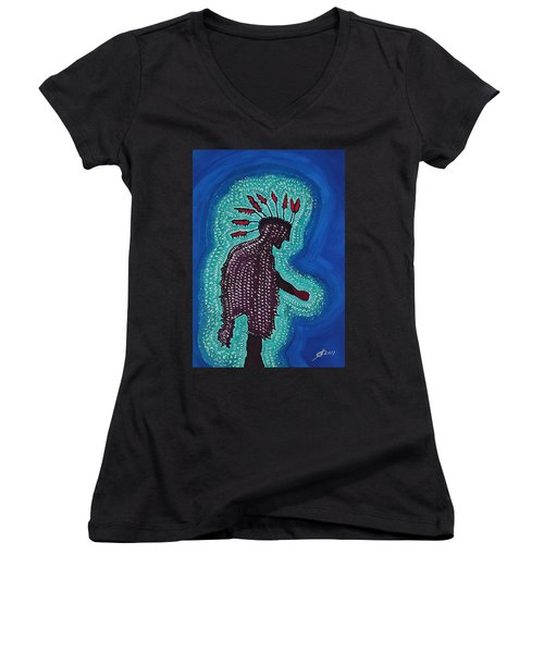 Punk Shaman Original Painting Women's V-Neck (Athletic Fit)