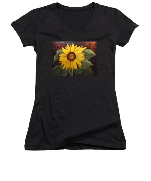 Women's V-Neck T-Shirt (Junior Cut) featuring the painting Pure Sunshine  Sold by Susan Dehlinger