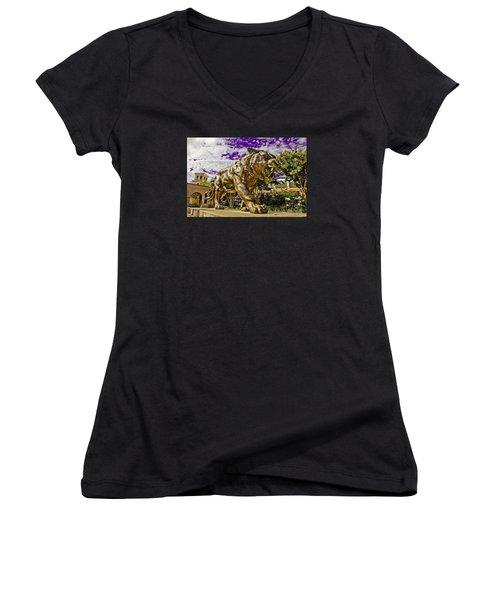 Purple And Gold Women's V-Neck T-Shirt (Junior Cut) by Scott Pellegrin