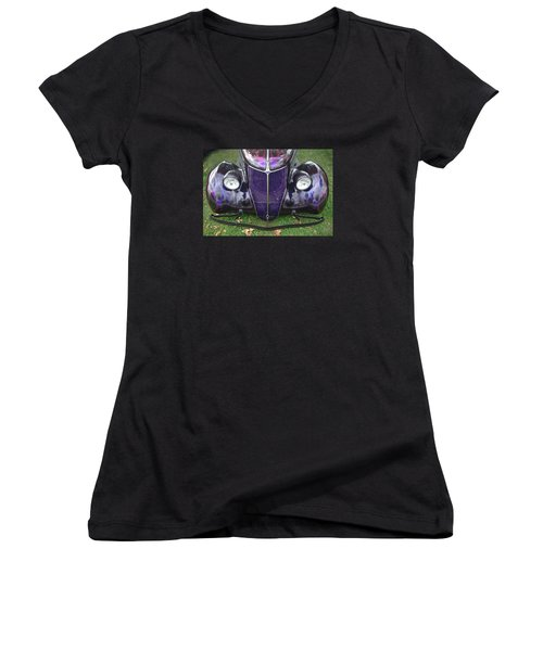 Purple Antique Ford Women's V-Neck T-Shirt (Junior Cut) by Kathy M Krause