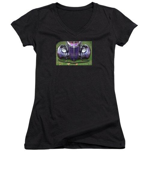 Purple Antique Ford Women's V-Neck T-Shirt