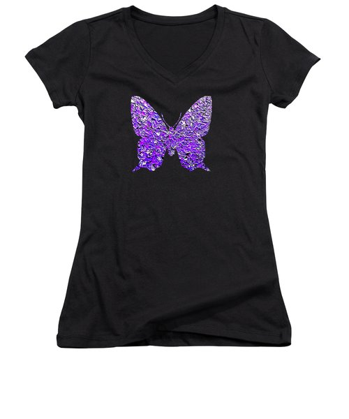 Purple Butterfly  Women's V-Neck (Athletic Fit)