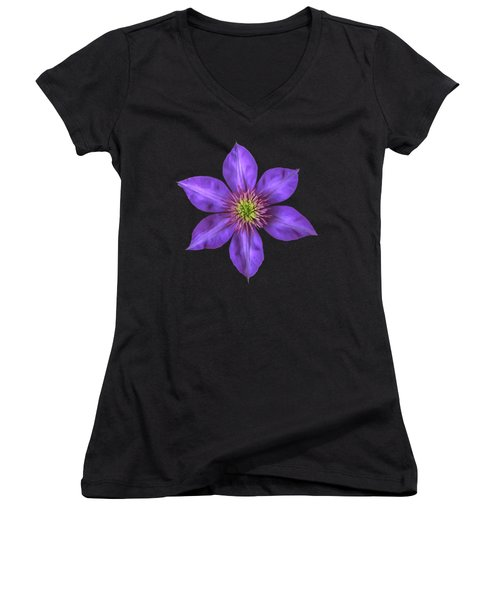 Purple Clematis Flower With Soft Look Effect Women's V-Neck