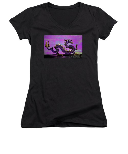 Purple Dragon Women's V-Neck