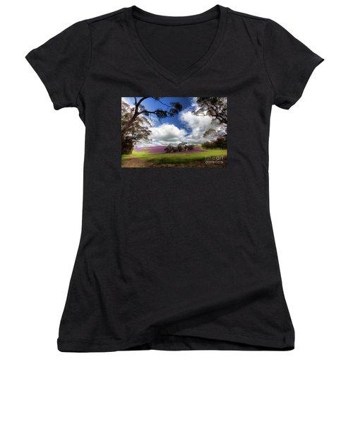 Purple Fields Women's V-Neck T-Shirt (Junior Cut) by Douglas Barnard