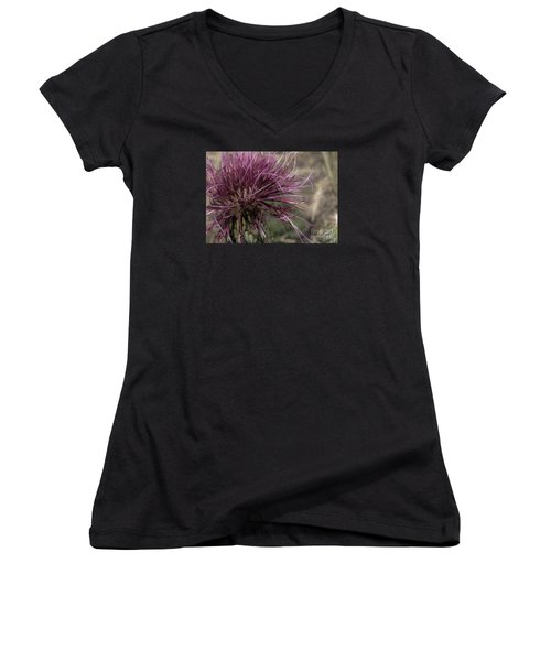 Purple Flower 2 Women's V-Neck (Athletic Fit)