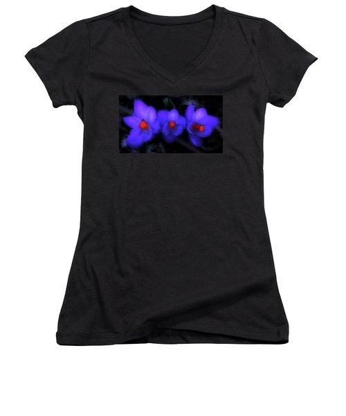 Beautiful Blue Purple Spring Crocus Blooms Women's V-Neck