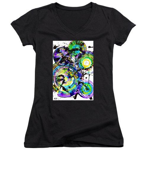 Purple Haze Spheres And Circles 1509.021413 Women's V-Neck T-Shirt (Junior Cut) by Kris Haas