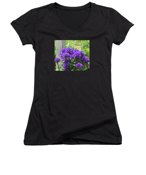 Purple In The Forest Women's V-Neck T-Shirt (Junior Cut) by Jeanette Oberholtzer
