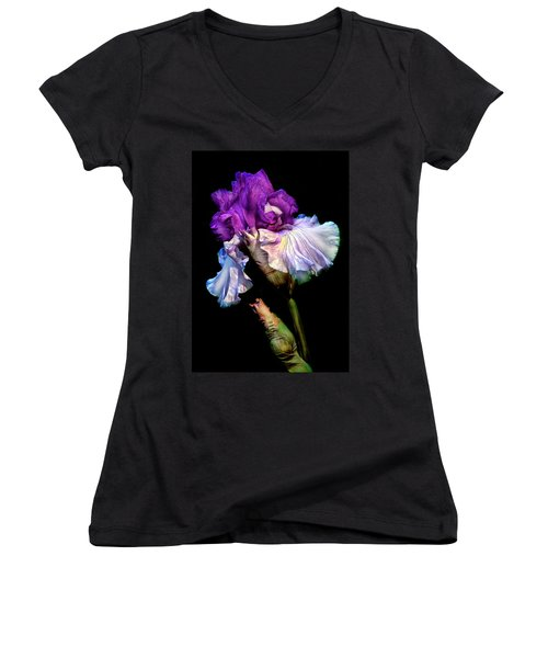 Purple Iris Women's V-Neck T-Shirt (Junior Cut) by Dave Mills