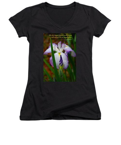 Purple Iris In Morning Dew Women's V-Neck T-Shirt (Junior Cut) by Marie Hicks