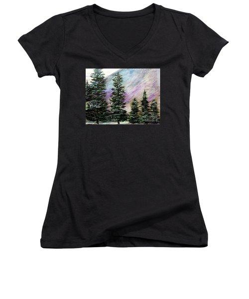 Purple Mountain Majesty Women's V-Neck T-Shirt (Junior Cut) by Scott D Van Osdol