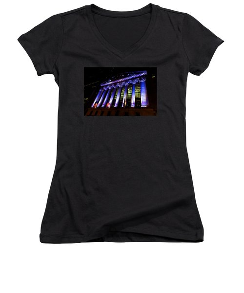 Purple New York Stock Exchange At Night - Impressions Of Manhattan Women's V-Neck (Athletic Fit)