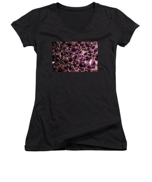 Purple Quartz  Amethyst Women's V-Neck T-Shirt (Junior Cut) by LeeAnn McLaneGoetz McLaneGoetzStudioLLCcom