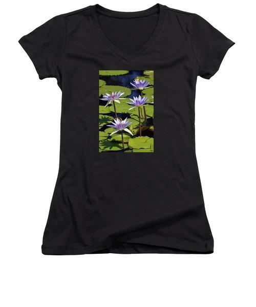 Purple Sparks Women's V-Neck T-Shirt (Junior Cut) by Deborah  Crew-Johnson