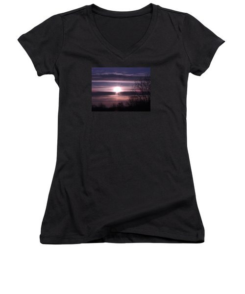Women's V-Neck T-Shirt (Junior Cut) featuring the photograph Purple Sunrise by Teresa Schomig