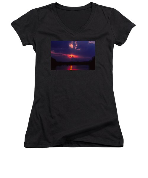 Purple Sunset Women's V-Neck (Athletic Fit)