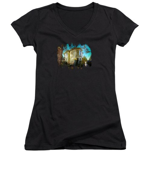 House With The Purple Swing Women's V-Neck T-Shirt (Junior Cut) by Thom Zehrfeld