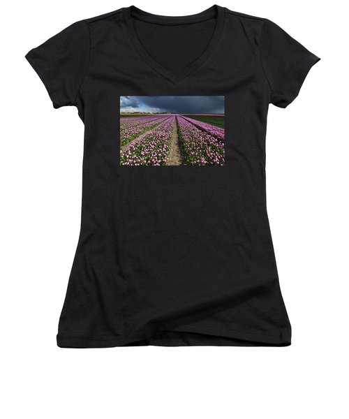 Purple Tulips Field Women's V-Neck T-Shirt
