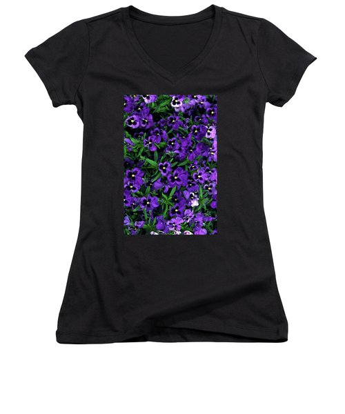 Women's V-Neck T-Shirt (Junior Cut) featuring the photograph Purple Viola Flowers by Sally Weigand