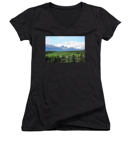 Women's V-Neck T-Shirt (Junior Cut) featuring the photograph Pyramid Island - Jasper Ab. by Ryan Crouse