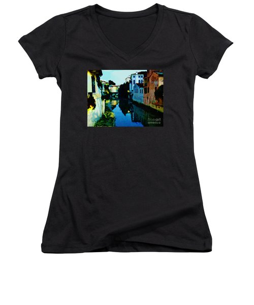 Women's V-Neck T-Shirt (Junior Cut) featuring the photograph Quaint On The Canal by Roberta Byram