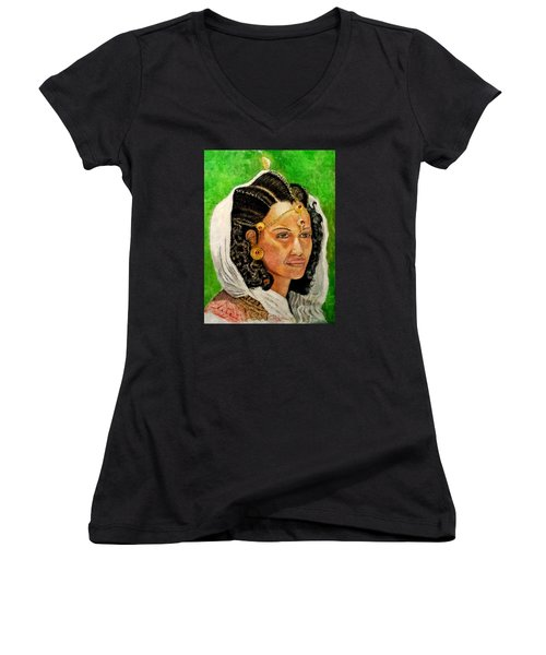 Queen Hephzibah  Women's V-Neck T-Shirt (Junior Cut) by G Cuffia