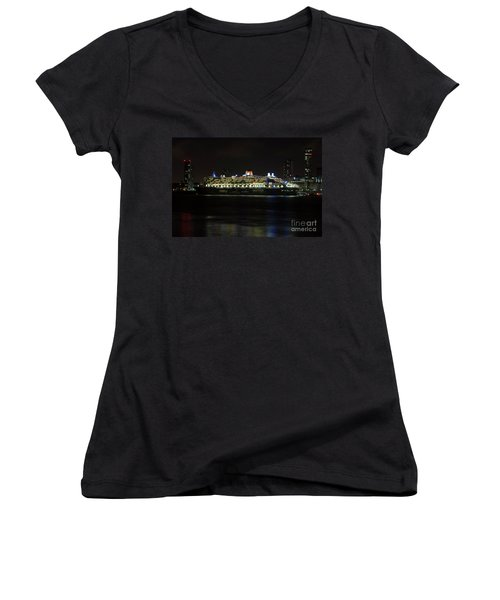 Queen Mary 2 At Night In Liverpool Women's V-Neck