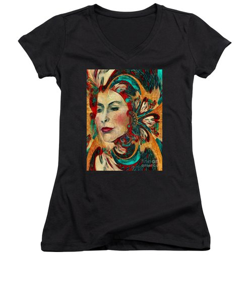 Queenie Women's V-Neck T-Shirt (Junior Cut) by Alexis Rotella