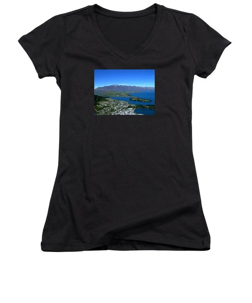 Queenstown New Zealand Women's V-Neck (Athletic Fit)