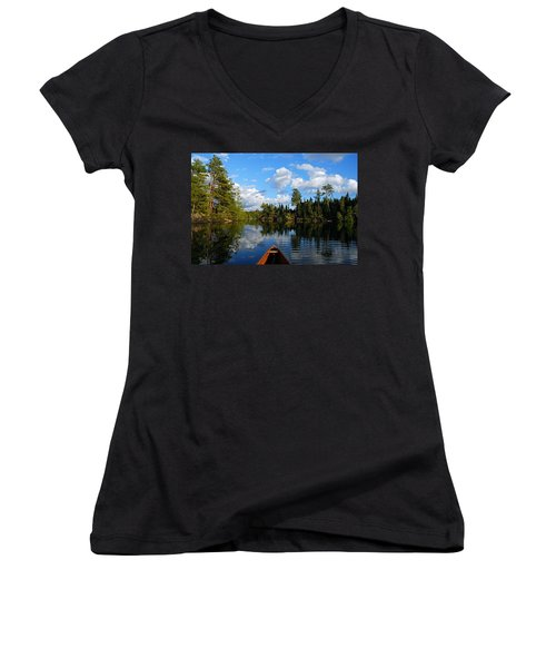 Quiet Paddle Women's V-Neck T-Shirt (Junior Cut) by Larry Ricker