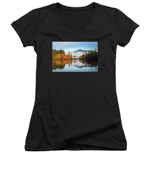Mount Chocorua Fall Reflection Women's V-Neck (Athletic Fit)