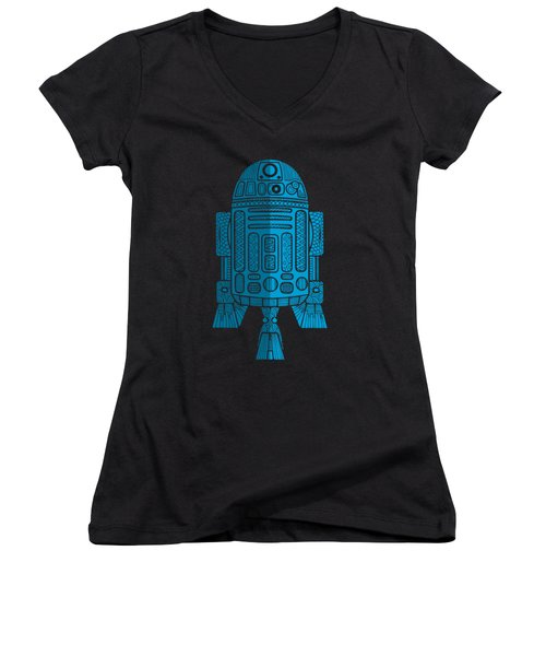 R2d2 - Star Wars Art - Blue 2 Women's V-Neck (Athletic Fit)