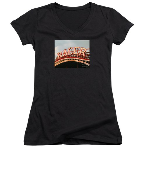Racer Coaster Kennywood Park Women's V-Neck T-Shirt