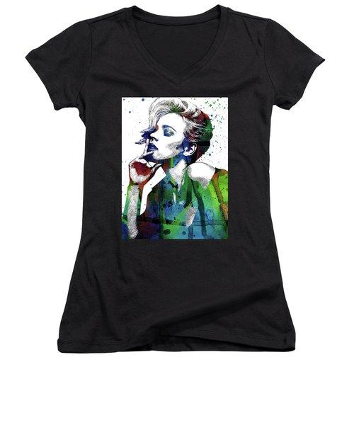 Rachel Mcadams Women's V-Neck T-Shirt (Junior Cut) by Mihaela Pater