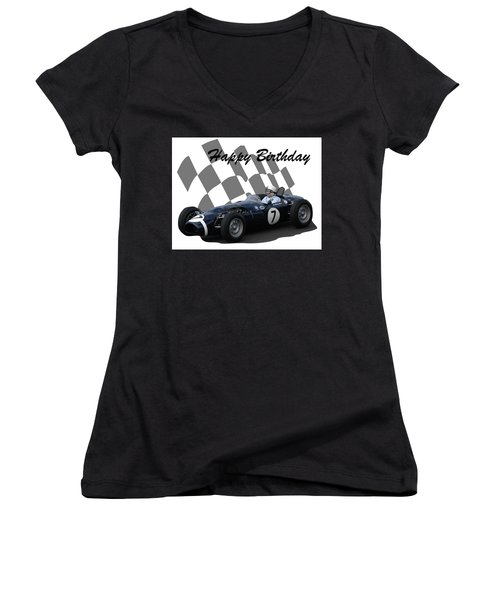 Racing Car Birthday Card 8 Women's V-Neck T-Shirt (Junior Cut) by John Colley