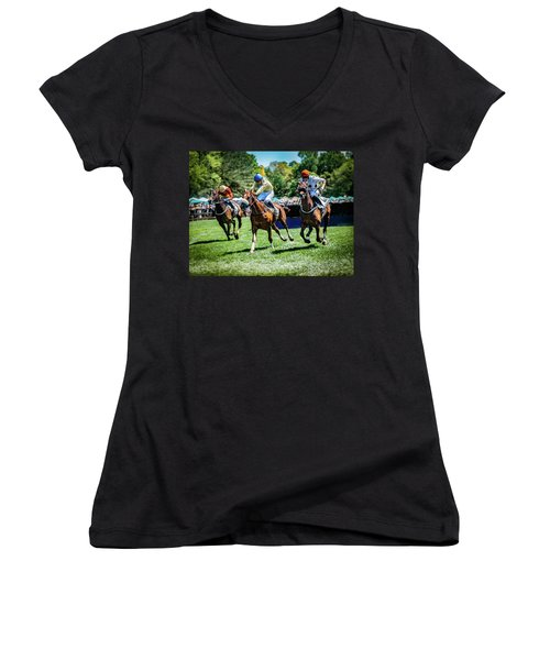 Racing Down The Stretch Women's V-Neck