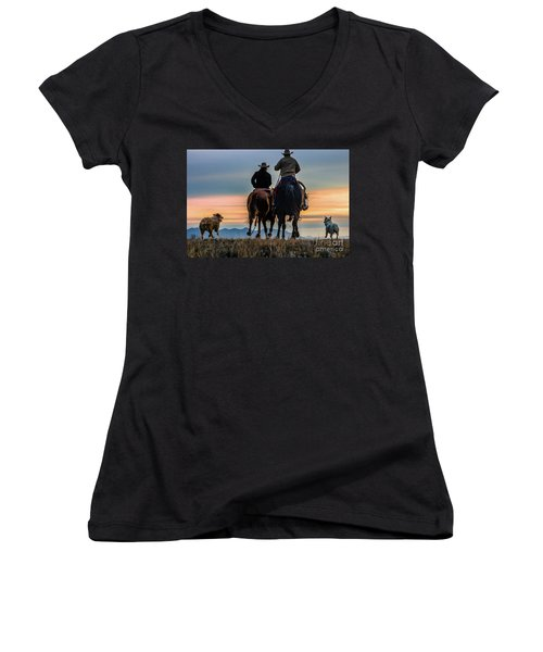 Racing To The Sun Wild West Photography Art By Kaylyn Franks Women's V-Neck