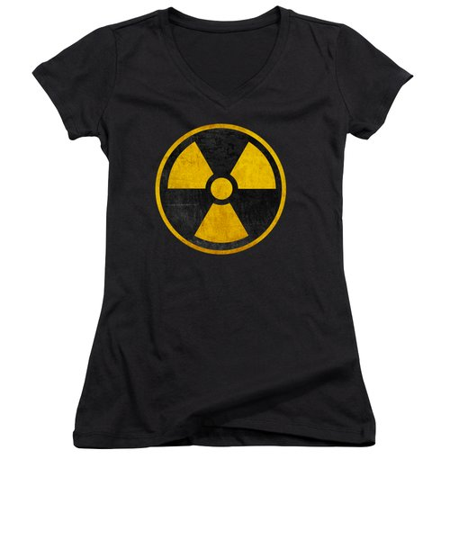 Vintage Distressed Nuclear War Fallout Shelter Sign Women's V-Neck (Athletic Fit)